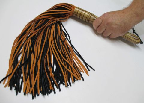 TIGER Flogger  Orange/Black Coloured 3mm Suede falls Hardwood Handled Flogger
